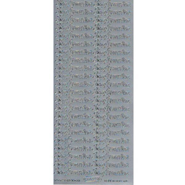 Stickers konfirmation tekst sølv 632