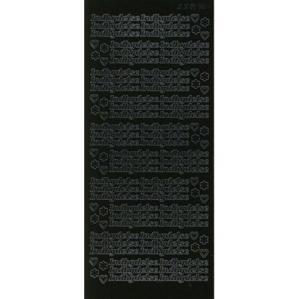 Stickers med Indbydelse sort tekst 3611