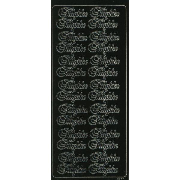 Stickers med Tillykke sort tekst 6677