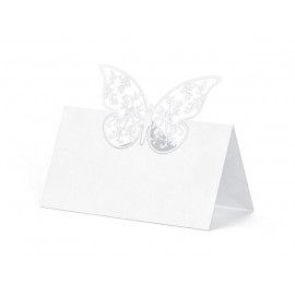 Bordkort hvide med sommerfugl