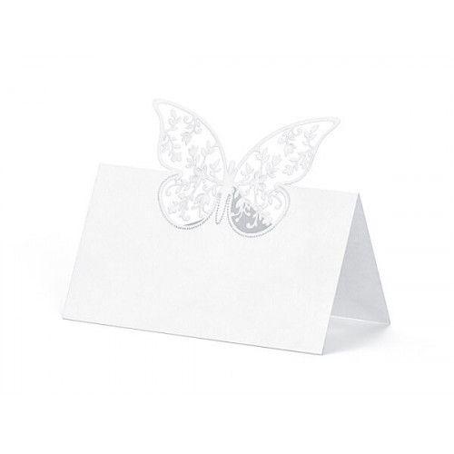 Bordkort hvide perlemorsfarvede med sommerfugl, 1 stk