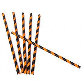 Papirsugerør sort & orange 25 stk
