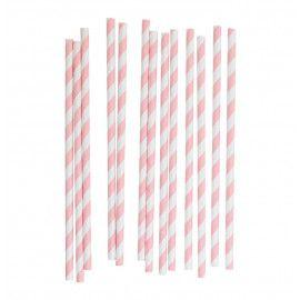 Papirsugerør lyserød & hvid striber