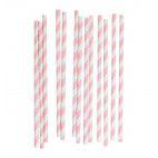 Papirsugerør lyserød & hvid 25 stk