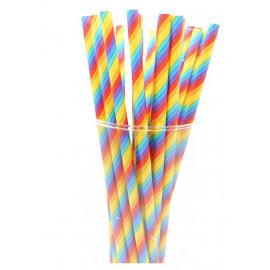 Papirsugerør regnbue farvet