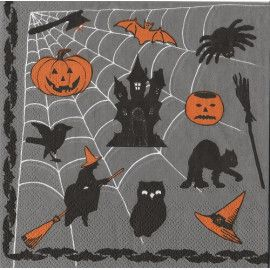 Halloween servietter spindelvæv grå 20 stk