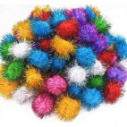 Pom Pom Glitter 15mm mix 100 stk