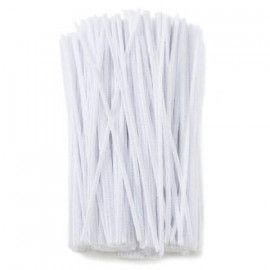 Chenille piberensere hvide 4,5mm x 15,5cm