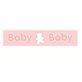 """Satinbånd lyserød 25mm med """"BABY"""""""