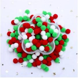 Pom Pom 10mm rød, hvid, grøn mix 400 stk