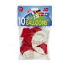 Balloner med Dannebrog 10 stk