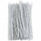 Chenille piberenser hvide glimmer 6mm 30cm 10 stk