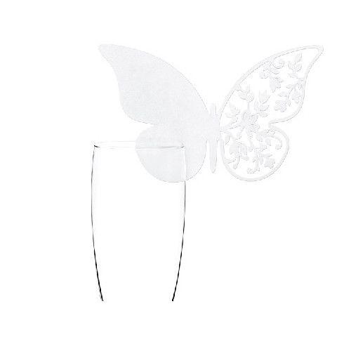 Bordkort til glas perlemorsfarvet sommerfugle 1 stk