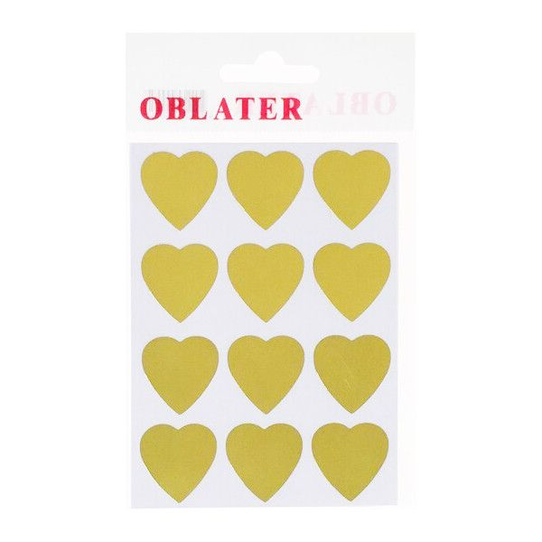 Oblater guld hjerter - 24 stk - 2,4 cm x 2,3 cm