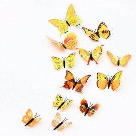 3D sommerfugle gule