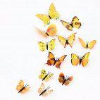 3D sommerfugle gule 12 stk