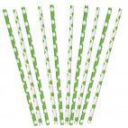 Papirsugerør grønne/hvide med prikker 10 stk