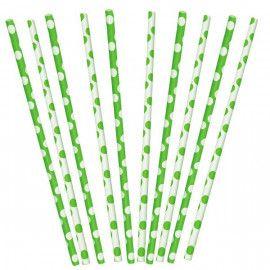 Papirsugerør lime grønne hvide med prikker 10 stk
