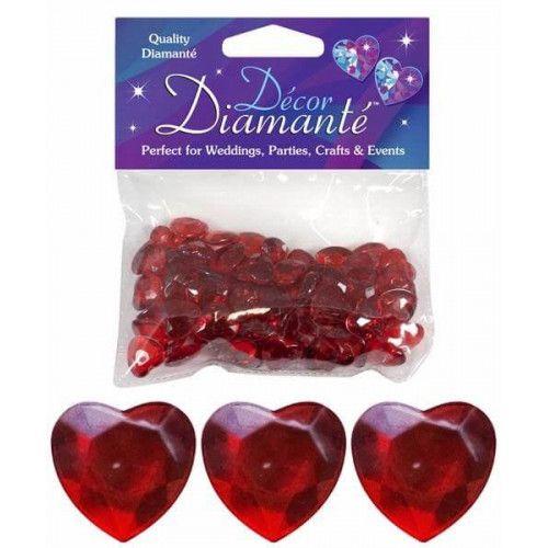 Pynte Diamanter, hjerter, rubin rød, 12mm