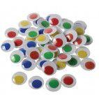 Rulleøjne 5mm selvklæbende farvemix 50 stk