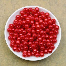 Perler runde imiteret røde 4mm 14g