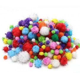 Glitter Pom Pom 10-30mm mix 120 stk