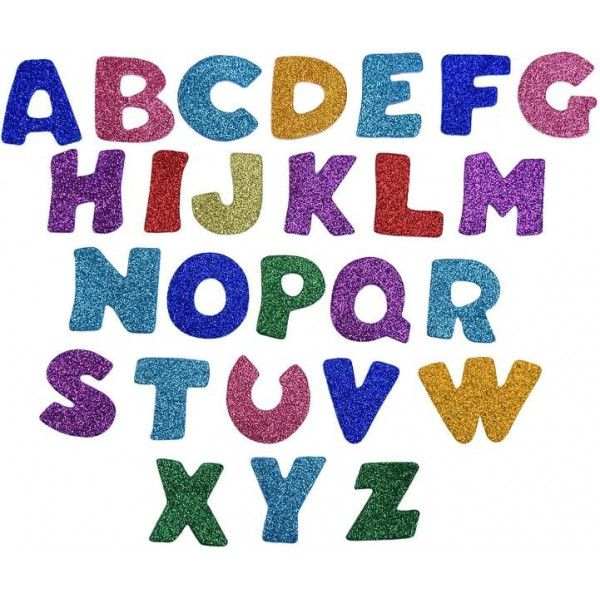 Mosgummi bogstaver med glitter