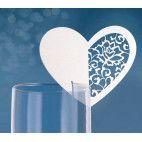 Bordkort til glas hvid perlemors hjerteform