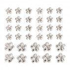 Rhinsten blomster selvklæbende krystal mix 34 stk