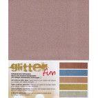 Glitter papir A4 - mix 5 farver