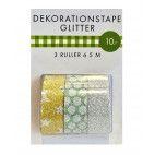Glitter tape, 3 pak, 3 x 5 m guld sølv grøn mix