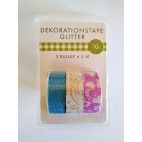 Glitter tape, 3 pak, 3 x 5 m, blå sølv pink mix