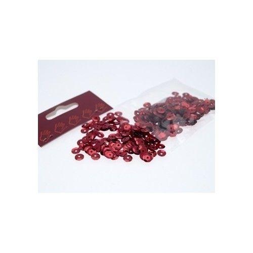 Pailletter, rød, 6mm