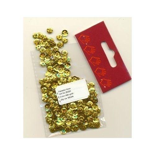 Pailletter, glitter guld, 6mm