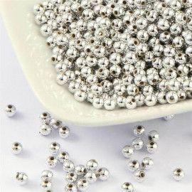 Perler runde 3mm imiteret sølv