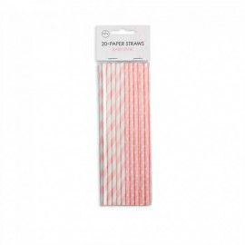 Papirsugerør lyserøde hvide med prikker striber