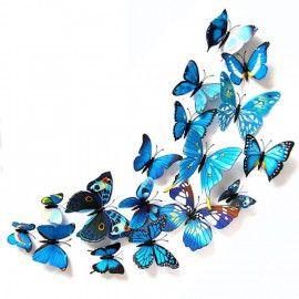3D sommerfugle blå