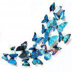3D sommerfugle blå 12 stk