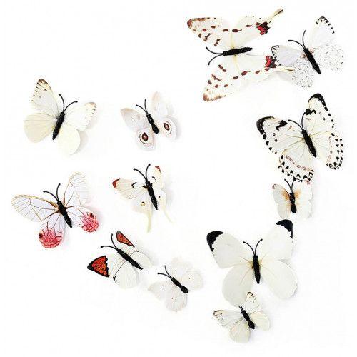 3D sommerfugle hvide 12 stk