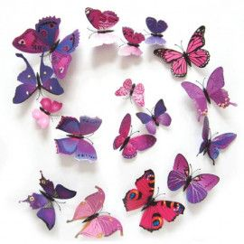 3D sommerfugle lilla lyserød