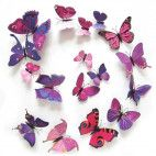3D sommerfugle lilla/lyserød 12 stk