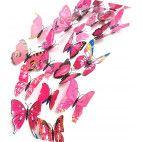 3D sommerfugle lyserøde 12 stk
