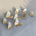 3D sommerfugle guld 12 stk