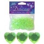 Diamanter, Lime grønt hjerte, 12mm