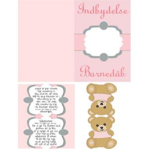 Indbydelser og kort til pige barnedåb